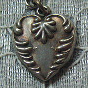 SALE Antique/Vintage C1900 Sterling Repousse Puffy Heart Charm-Inscribed G.F.