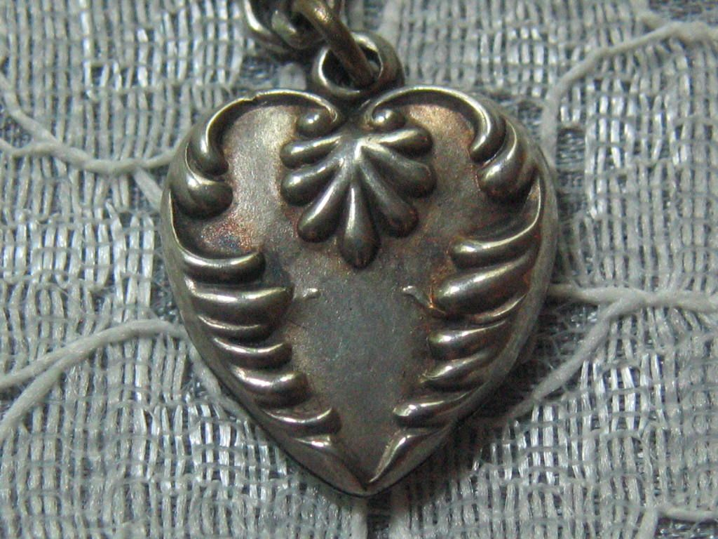 "Antique/Vintage C1900 Sterling Repousse Puffy Heart Charm-Inscribed ""G.F."""