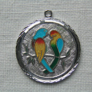 SALE Vintage Sterling Enamel Love Birds Charm/Pendant