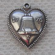 Vintage C1940�s Sterling Beaded Liberty Bell Puffy Heart Charm-Inscribed
