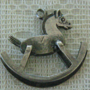 SALE Vintage C1940s 3-D Sterling Silver Rocking Horse Charm