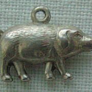 SALE Vintage C1940s Sterling 3-D Pot Belly Pig Charm