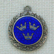 SALE Vintage C1960s Sterling Enameled Sweden Coat Of Arms Charm-Three Crowns