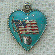 Vintage C1940�s Sterling Beaded Enamel American Flag Puffy Heart Charm-Inscribed �M.H.�-41�