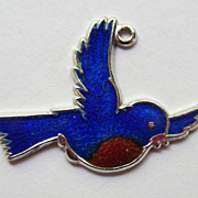 SALE Vintage C1960s Sterling Guilloche Enamel Blue Bird of Happiness Charm By Beau