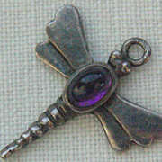 SALE Vintage Sterling Dragon Fly Charm/Pendant With Purple Stone Cabochon Body-Hallmarked