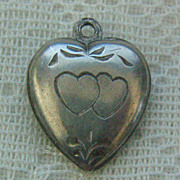 SALE Vintage C1940s Sterling Etched Heart-To-Heart Puffy Heart Charm-Inscribed