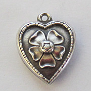 SALE Vintage C1940s Sterling Forget-Me-Not Flower Puffy Heart Charm For Bracelet-Inscribed