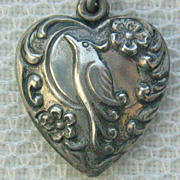 SALE Vintage C1940s Sterling Repousse Peacock Bird Puffy Heart Charm For Bracelet-Inscribed