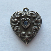 SALE Vintage C1940s Sterling Repousse Puffy Heart Charm With Blue Stone