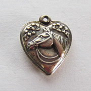 SALE Vintage C1940s Sterling Horse Puffy Heart Charm For Bracelet