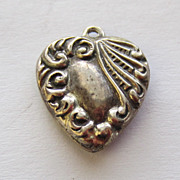 SALE Vintage C1940s Sterling Double-Sided Repousse Puffy Heart Charm For Bracelet