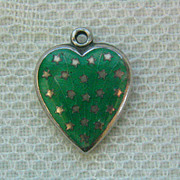 SALE Vintage C1940's Sterling Green Enamel Stars & Stripes Puffy Heart Charm