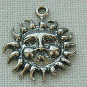 SALE Vintage C1950s Sterling Sunshine Face Charm Blowing North Wind