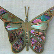 SALE Large Vintage C1960's Sterling Hencho Mexico Abalone Shell Butterfly Pendant For Necklace