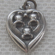 SALE Vintage C1940's Sterling May Flower-Of-The-Month Puffy Heart Charm-Lily of the Valley