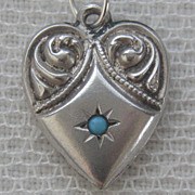 SALE Vintage C1940�s Sterling Beaded Repousse Puffy Heart Charm With Turquoise Stone