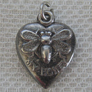 SALE Vintage C1940s Sterling Bee My Honey Bumble Bee Puffy Heart Charm For Bracelet