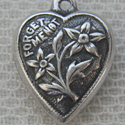 Vintage C1940�s Sterling Beaded Forget-Me-Me Flowers Puffy Heart Charm