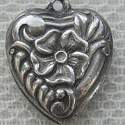 SALE Vintage 40's Walter Lampl Sterling Silver Pansy Puffy Heart Charm