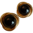Sophisticated Black Button Earrings