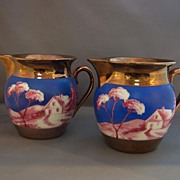 Pair of Czech Luster Pitchers