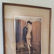 Authentic Louis Icart - Nude Color Etching 'Paravent Rouge', Circa 1933