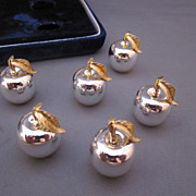 Set of 6 Silver Plate Apple Place Card Holders