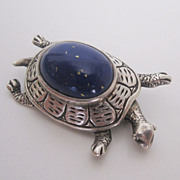 SOLD Sterling & Lapis Lazuli Turtle Pin / Brooch