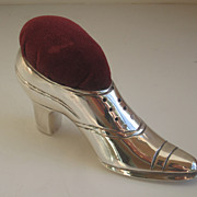 Early 20th C. Silver Shoe Pin Cushion