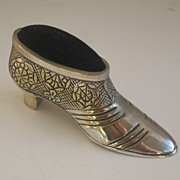 Early 20th C. Silverplate Shoe Pin Cushion