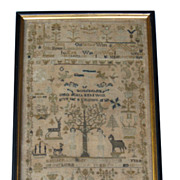 Exquisite 18th C. Adam & Eve Sampler - Esther Punther 1784
