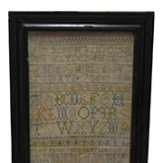 Wonderful early 18th c. Alphabet Sampler by Mary Parker - 1706