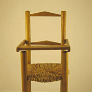 Vintage Miniature Wooden High Chair with Rush Seat