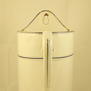 French Art Deco White & Blue Enamel Medical Irrigator