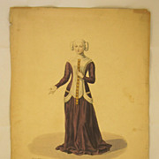 French c.1825 Hand-Colored Engraving Fashion Print, Jeanne de Sancerre