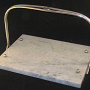French Carerra Marble & Silver Cheese Board