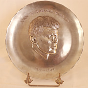 Hand Wrought Pewter First Edition President Kennedy Plate