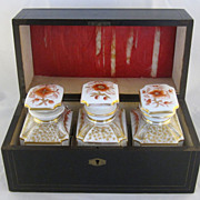 French Inlaid Tea Caddy with Three Hand Painted Porcelain Bottles