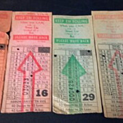 Four Omaha & Council Bluffs Str. Ry. Company bus, street or horse car ticket stubs. Globe ...