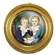 Portrait Miniature of Two Boys, circle of Louis LI PRIN-SALBREUX