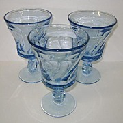 VINTAGE Three Fostoria Jamestown Blue Water Goblets Perfect
