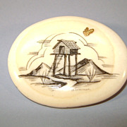 VINTAGE Walrus Tusk Cross-Section Scrimshaw Brooch with Gold Nugget