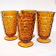 Set of 4:  Vintage Whitehall Cube Pattern Tumblers