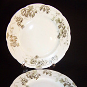 SET of 2:  Alfred Meakin of England Antique 6 7/8&quot; Dessert Plates ~ Dresden Hopfen Patter