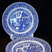 Old  W. Ridgway of England  Blue Willow Dinner Plates