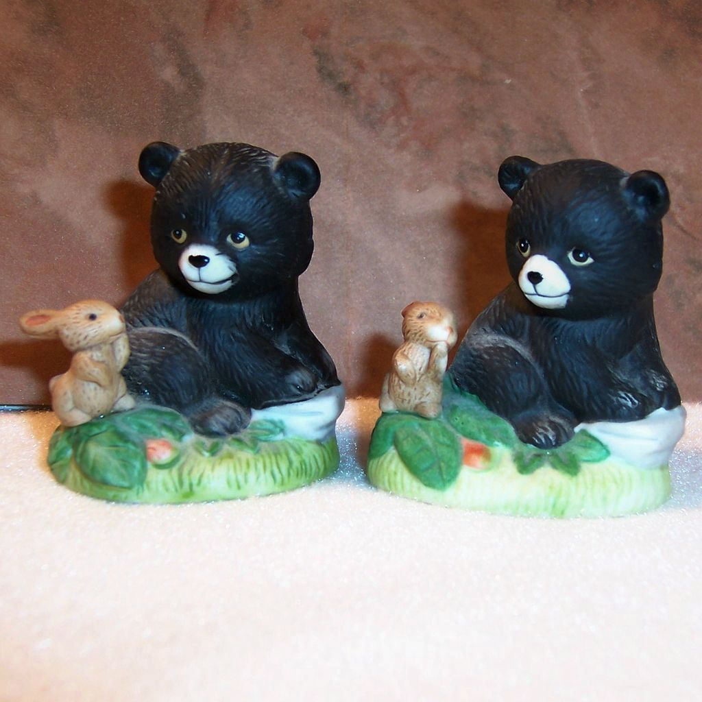 Pair of Homco Black Bear & Rabbit Figurines