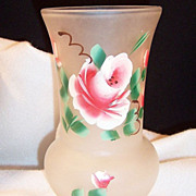 Vintage Frosted Glass Painted Rose Vase