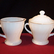 Fire King Golden Shell Creamer & Covered Sugar