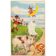 SALE Antique Julius Bien Halloween Postcard 980 Series; No. 9802